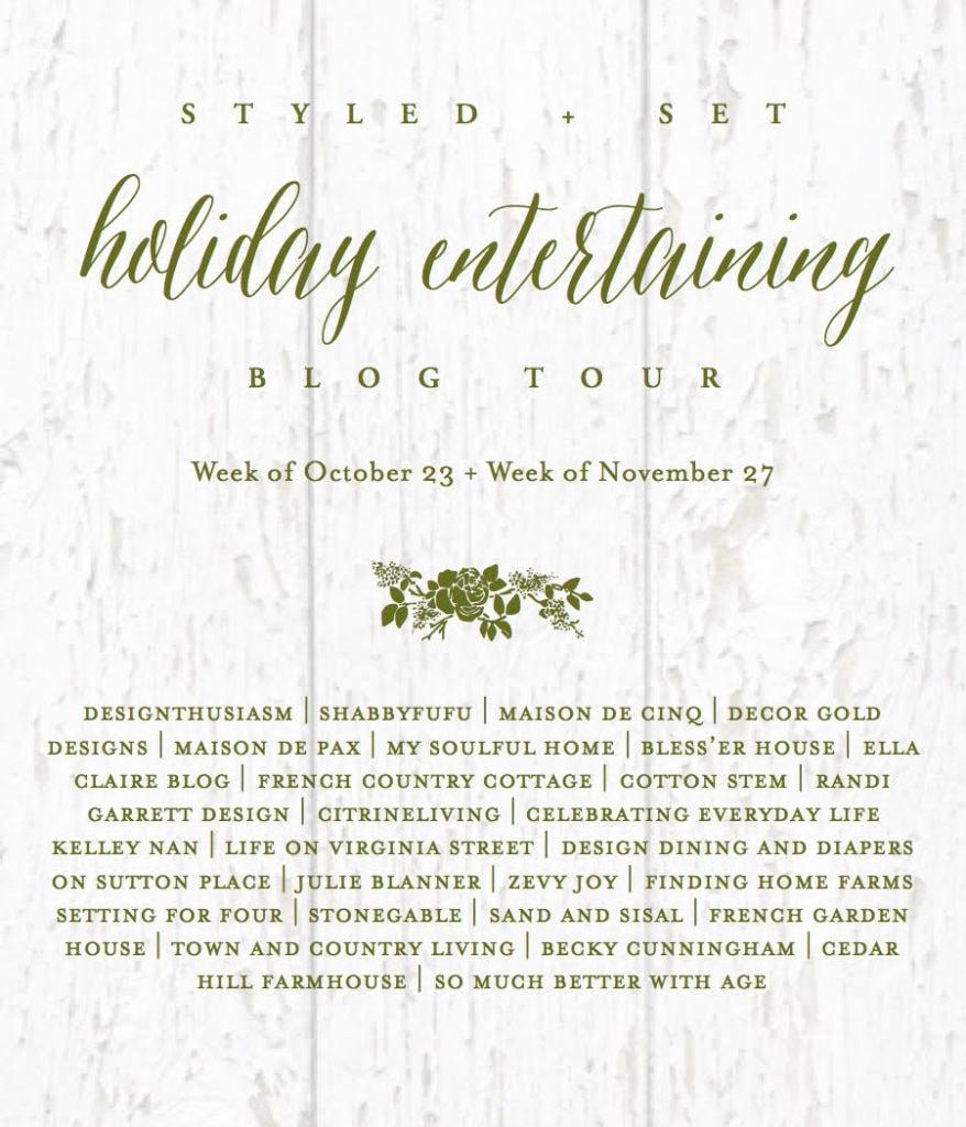 Holiday entertaining blog tour poster.