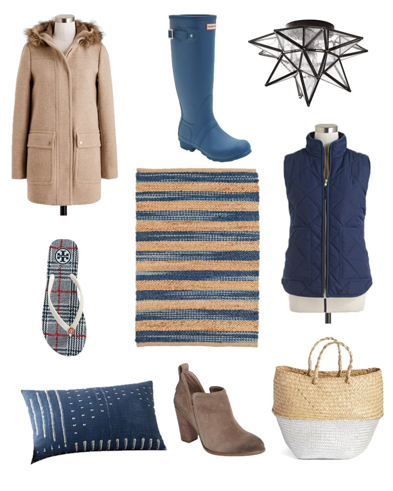 Top picks for sales this weekend! Beautiful camel colored winter coat, Hunter rainbow in Navy, gorgeous striped rug, beautiful home decor basket, and amazing lighting fixture are just some of the awesome sale items!