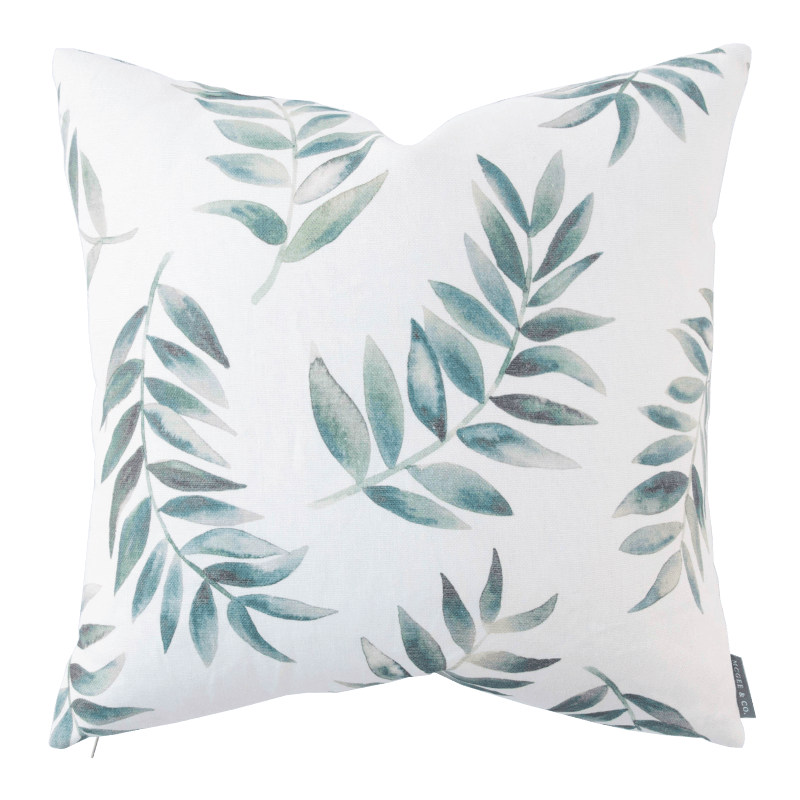 I love the watercolor inspired botanical leaves on this throw pillow.
