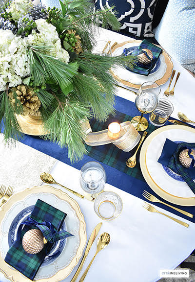 Blue and green Christmas tablescape from Citrine Living.