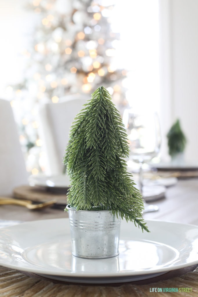 These little trees are one of my favorite parts of this woodland Christmas tablescape!