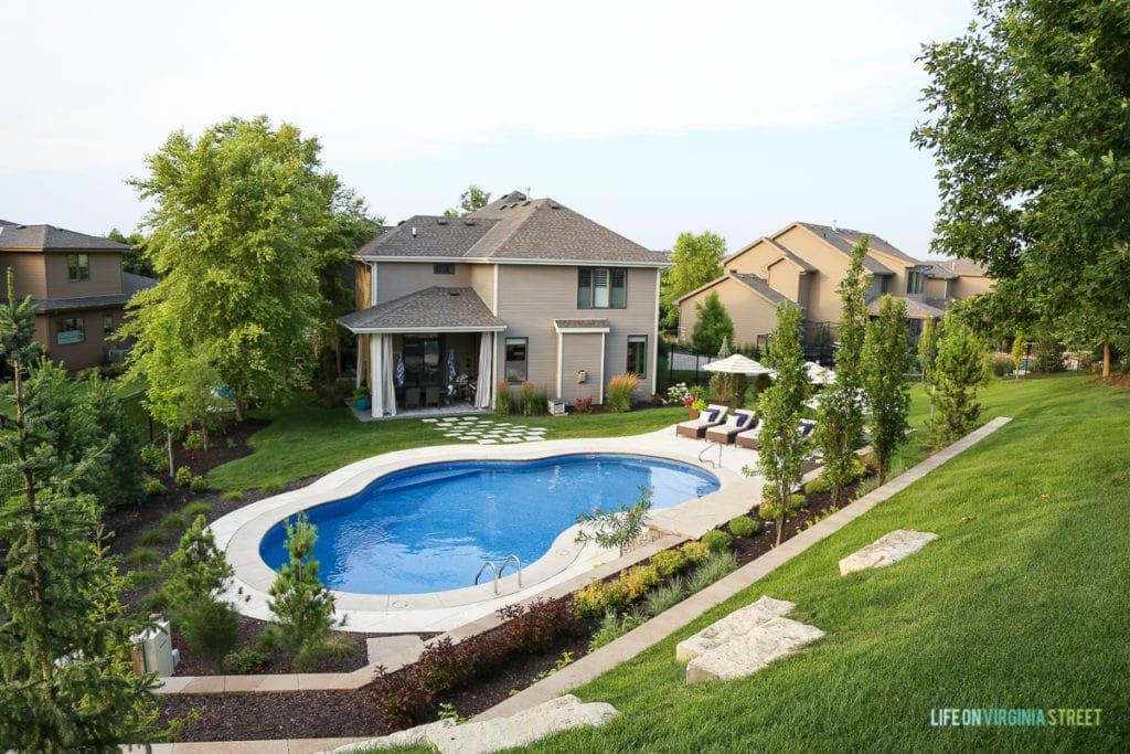 Large pool in the backyard.