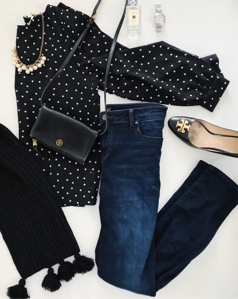 Outfit ideas: black and white polka dot blouse, dark skinny jeans, Tory Burch leather wedges, Tory Burch crossbody bag, gold and pearl necklace and black tassel scarf.