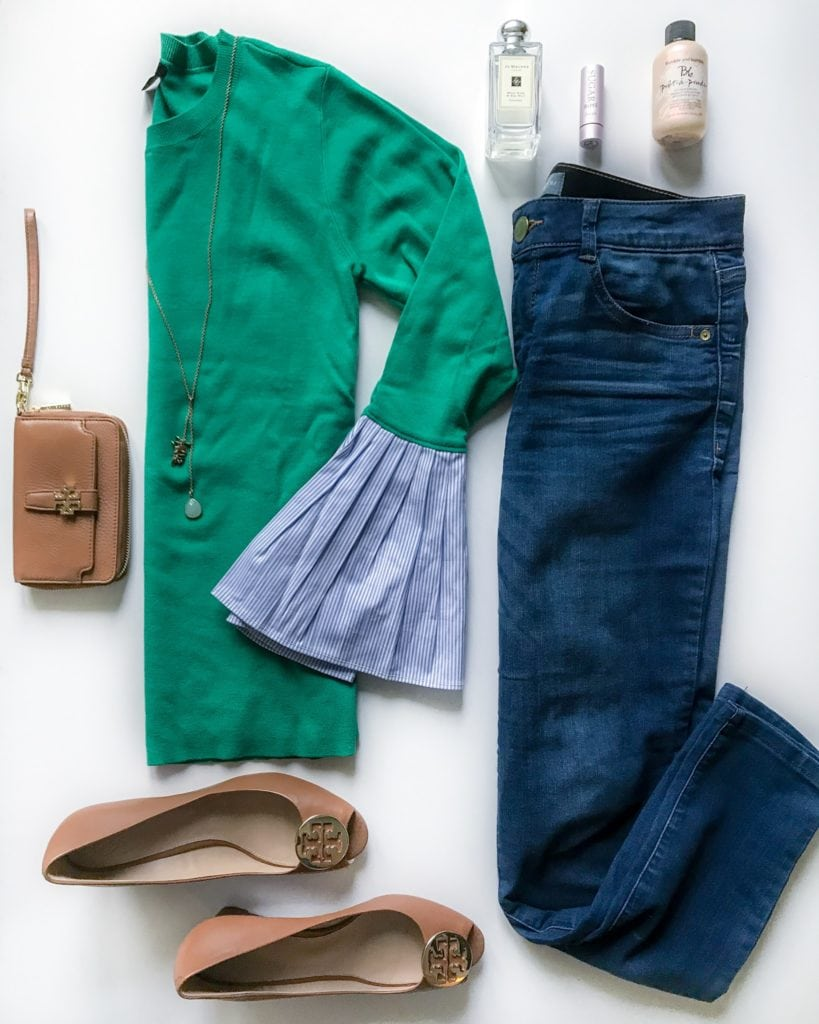 Green sweater with blue and white striped poplin sleeves, blue denim skinny jeans, came Tory Burch wedges, brown Tory Burch Wristlet, and the best perfume, lip condition and dry shampoo!