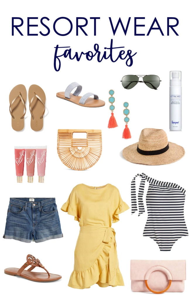 Resort wear favorites with a yellow dress, a striped bathing suit, sandals, sun glasses and jean shorts featured.