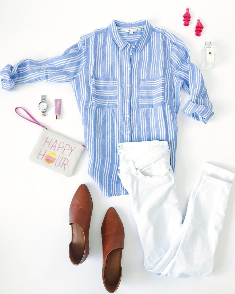 Blue and white striped linen shirt, white skinny jeans, leather booties, happy hour clutch, hot pink fringe earrings and MIchele watch. Cute outfit idea for spring!