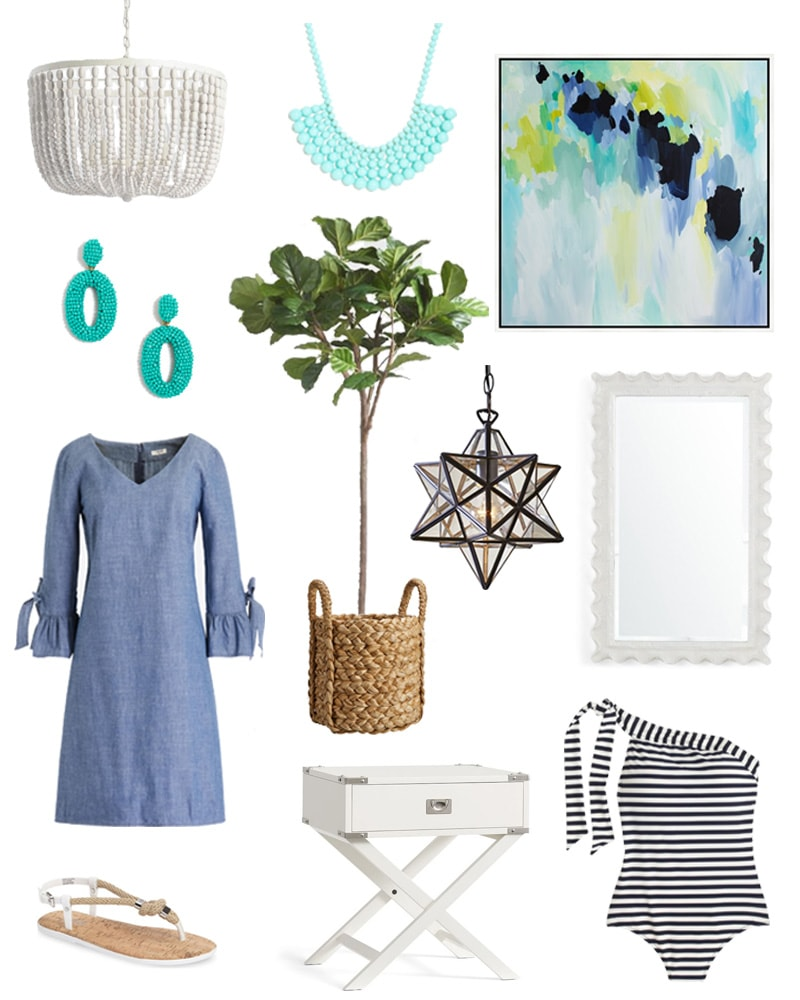 Cute styleboard with a chambray dress, blue and green abstract art, a star pendant light, white campaign night stand, white wood bead chandelier, a faux fiddle leaf fig tree, and more!