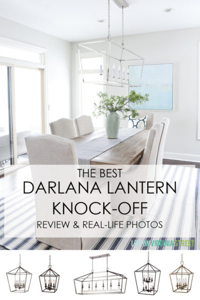 The Best Darlana Lantern Pendant Knock-Off Light Options. This includes both the linear and pendant versions. A comprehensive review of finishes, shapes and sizes. Great info!