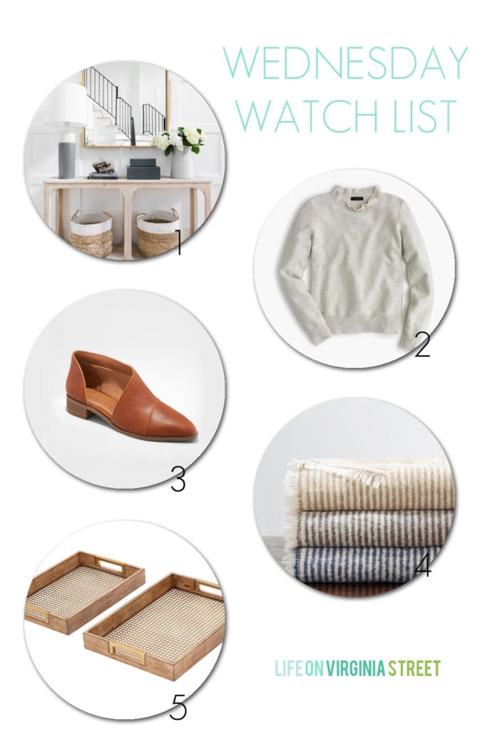 An entryway vignette, a ruffle-neck sweater, bootie looks for less, striped throws and wood and metal trays! So many great finds in this post!