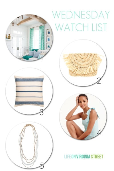 A beachy round-up of a gorgeous beach house tour, an affordable straw clutch, a blue and white striped pillow, a bow-sleeve one shoulder bathing suit and a beautiful glass bead layered necklace.