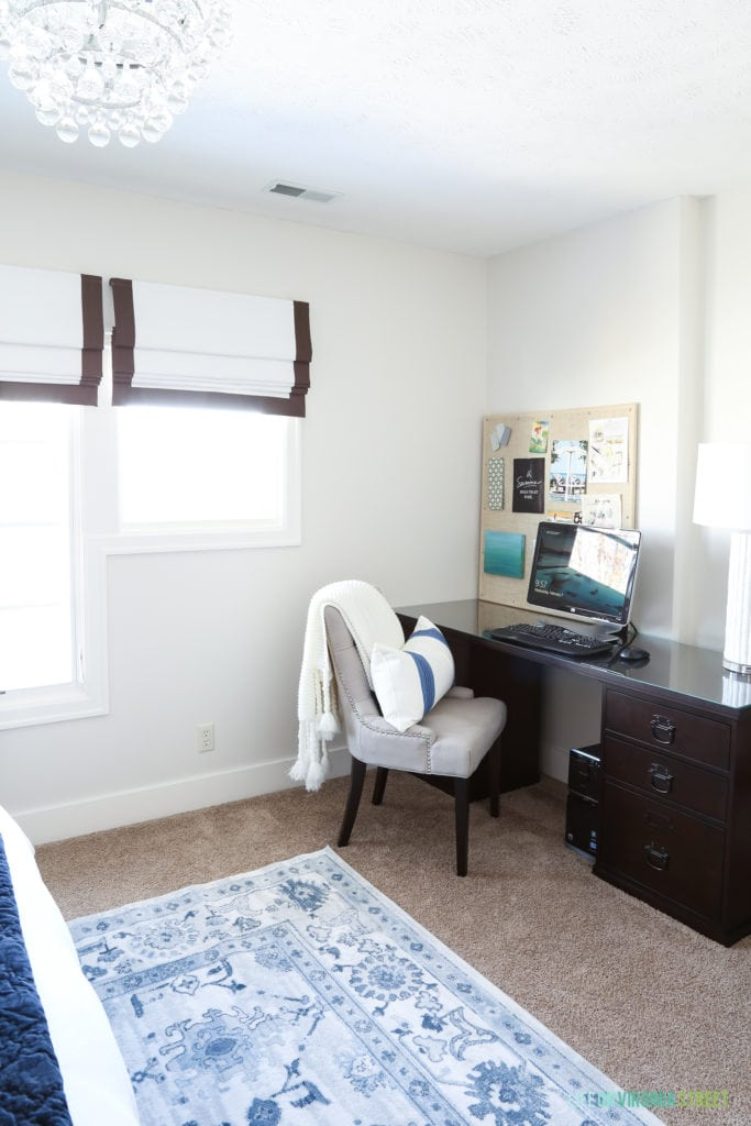 Bedroom office nook with the Pottery Barn Bedford Desk. Walls are Benjamin Moore Classic Gray.