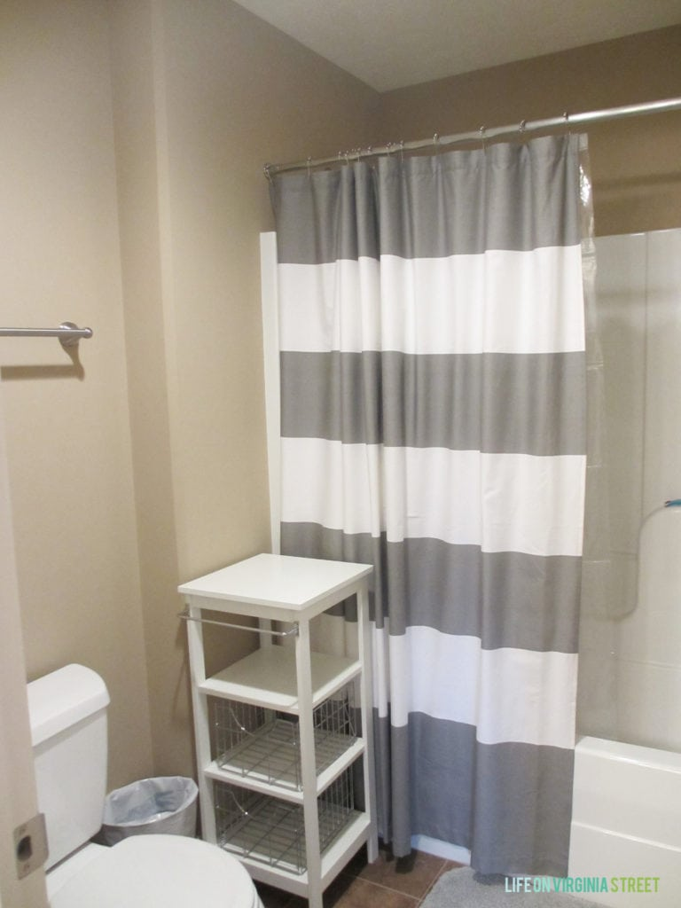 The before photo of our Jack & Jill bathroom and shower space, prior to renovation.
