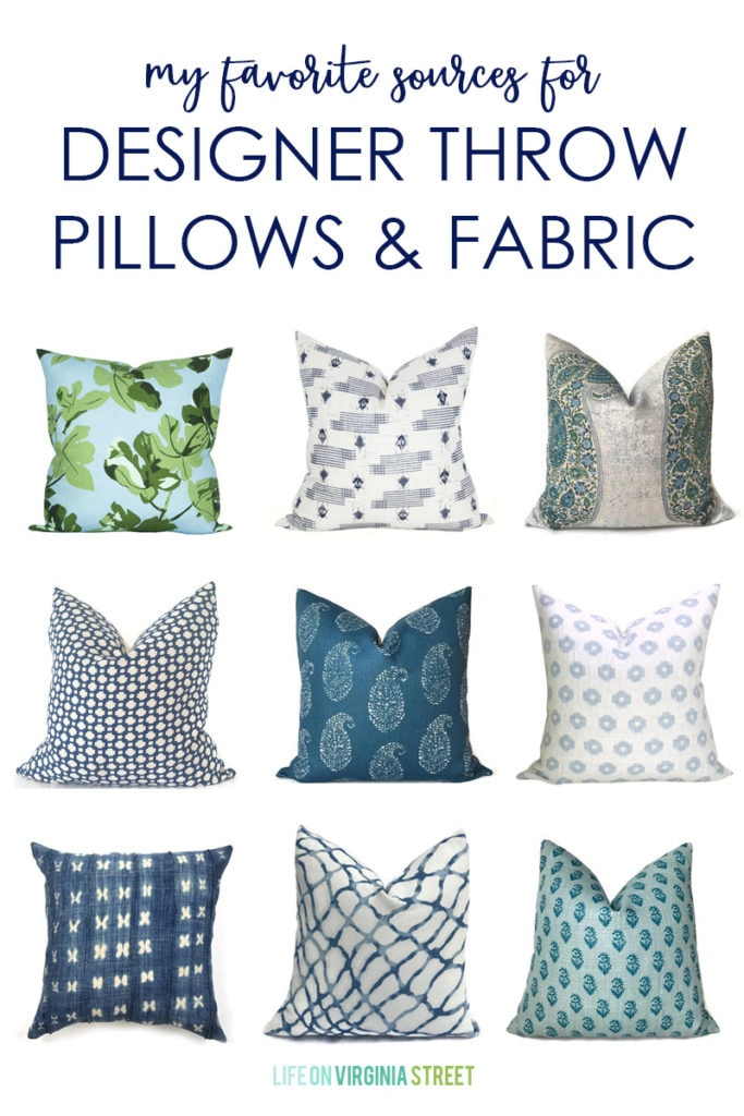 A excellent post about the best sources for designer throw pillows and fabrics.