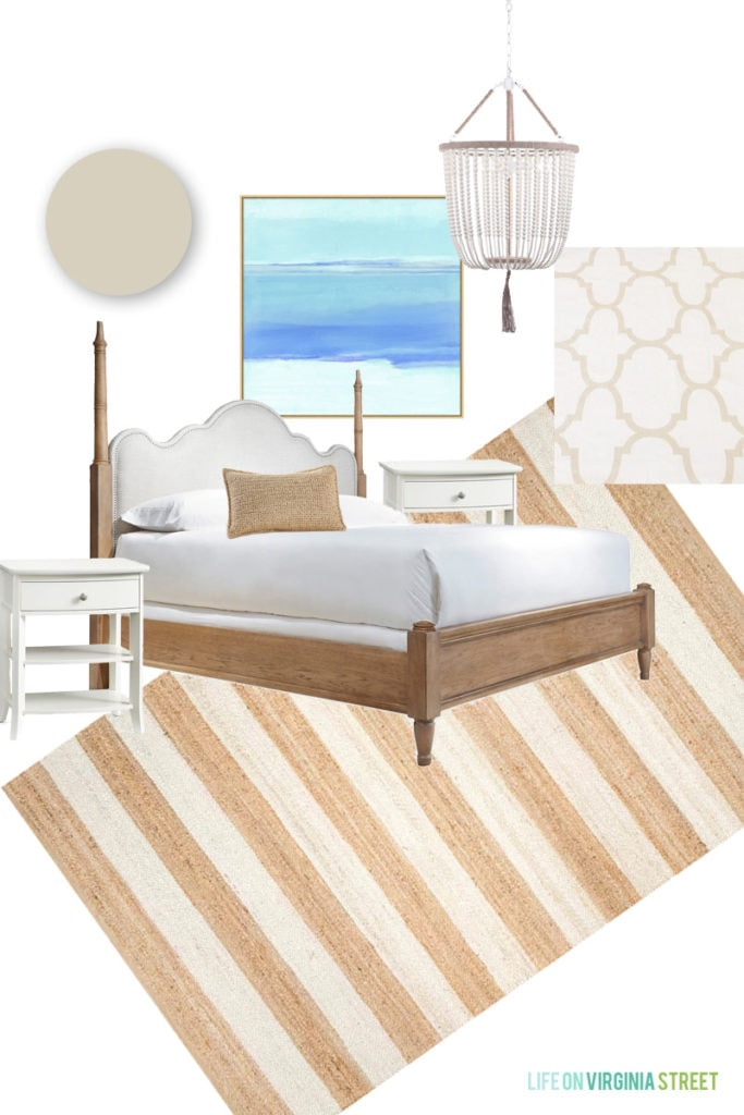 A white bed with wood frame, a beachy picture and a wooden beaded chandelier mood board.