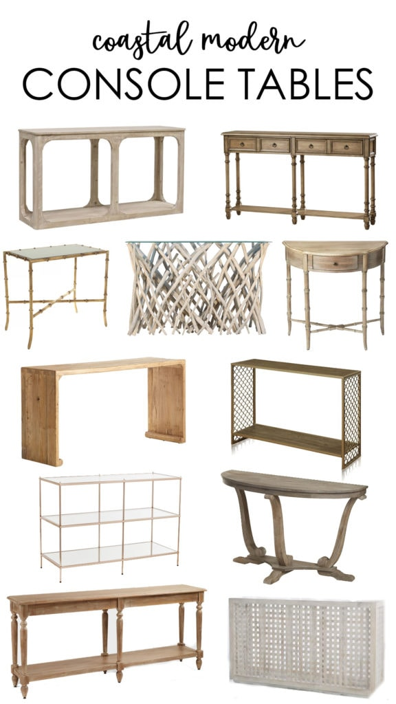 A curated collection of coastal modern console tables. More than 20 beautiful styles at all price points that fit well with the beachy or coastal style home!
