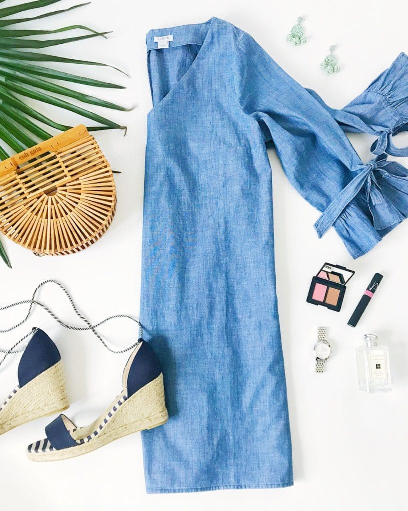 Chambray dress with ruffle bow sleeves, navy blue striped espadrilles, Cult Gaia mini ark bamboo handbag, best blush and bronzer combo, Michele watch, Jo Malone perfume, bead earrings and NARS lipgloss. Such a cute outfit for spring or summer!