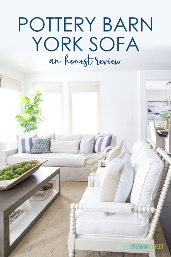 A detailed Pottery Barn York Sofa review from a homeowner that owns two of them. Such a gorgeous slope arm linen couch option! This honest review includes details on the best Pottery Barn couch fabric, how well it holds up to spills, and more!