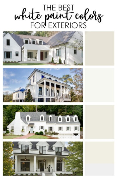 A collection of the best exterior white paint colors for your home. Includes a long list of recommendations and real-life photo examples of the colors on homes.