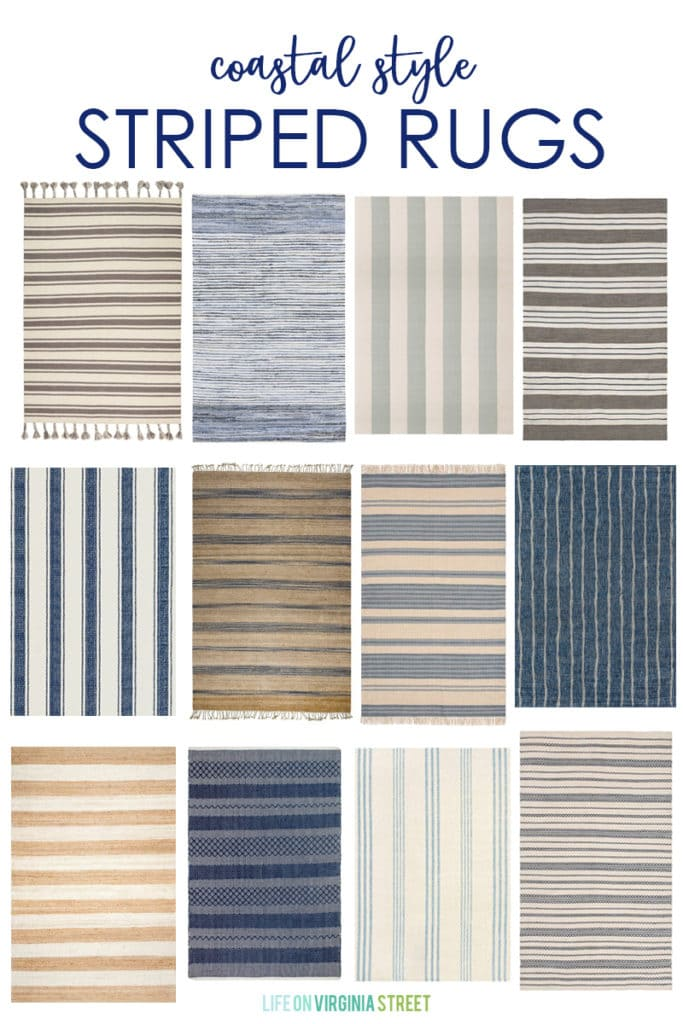 A collection of coastal style striped rugs that add a beachy charm to any indoor or outdoor space!