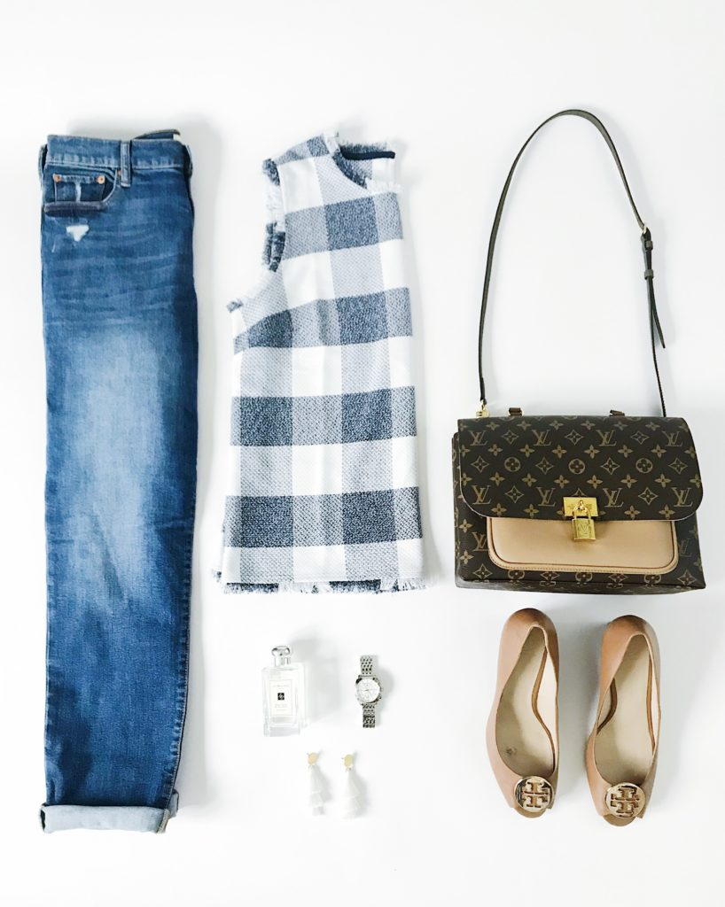 Gingham buffalo check shell, cropped denim jeans, Louis Vuitton Marignan bag, Tory Burch Wedges, J Crew Tassel Earrings, Michele watch and Jo Malone Cologne.
