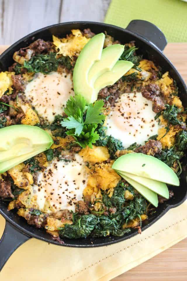 Paleo Ground Beef & Butternut Squash Breakfast Skillet Recipe.