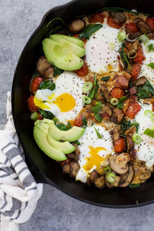 Spinach Mushroom Breakfast Skillet With Eggs Recipe.