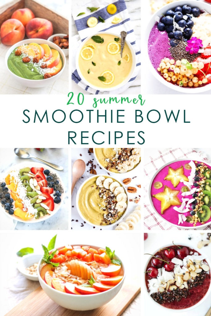 A collection of 20 summer smoothie bowl recipes that are perfect for eating healthy in the warmer months! These recipes use a wide variety of fruits so there's sure to be one everyone will love!