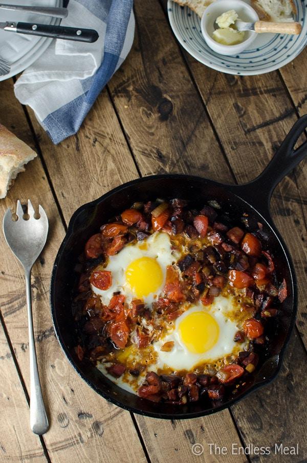 Chorizo and egg skillet breakfast.