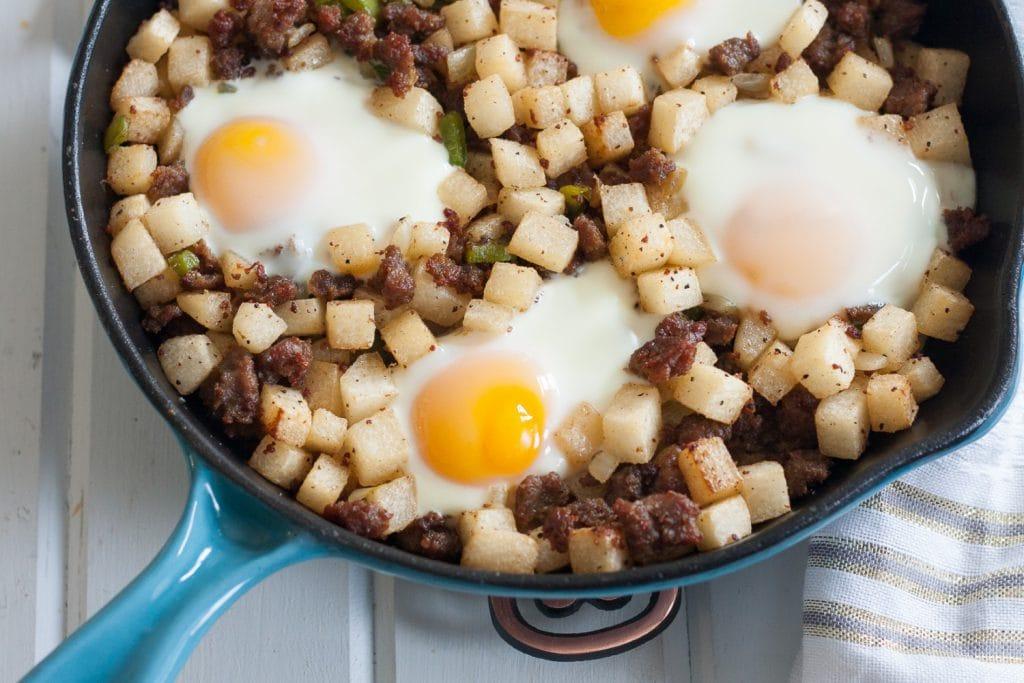 Jicama with eggs skillet breakfast.