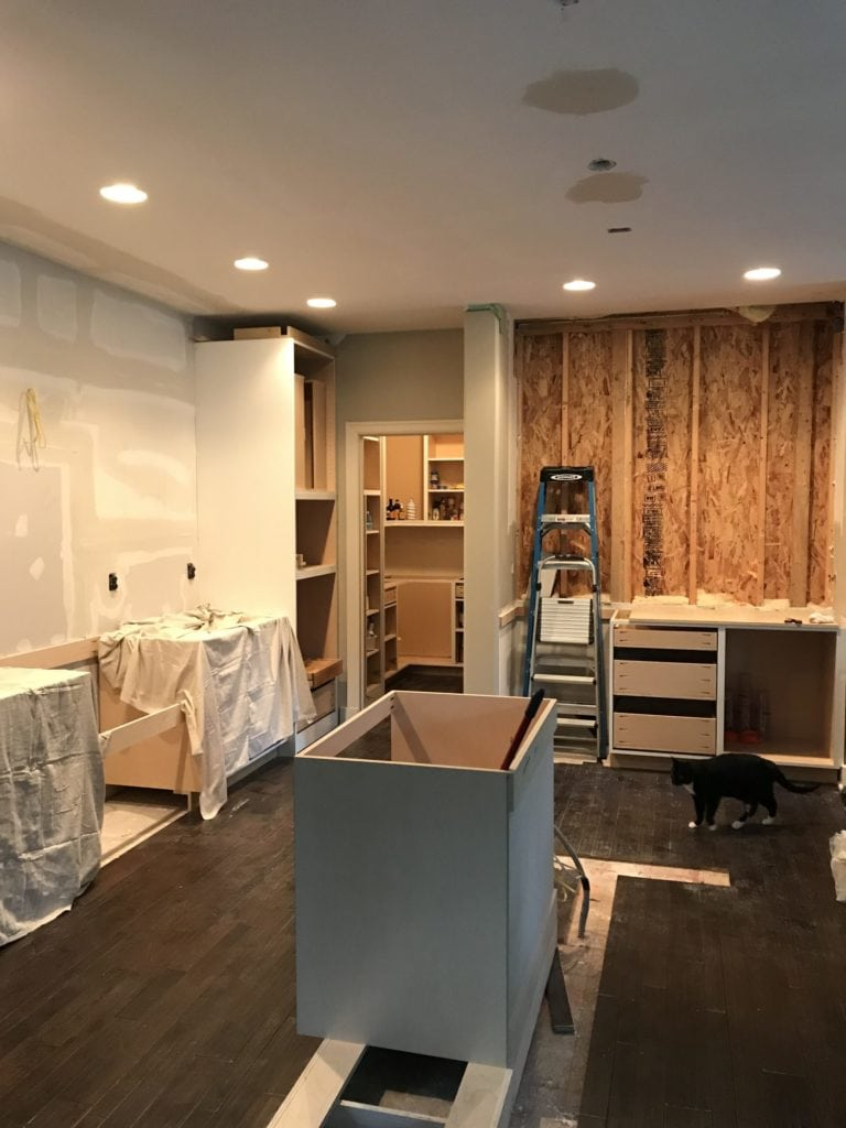 The beginning stages of putting together kitchen cabinets.