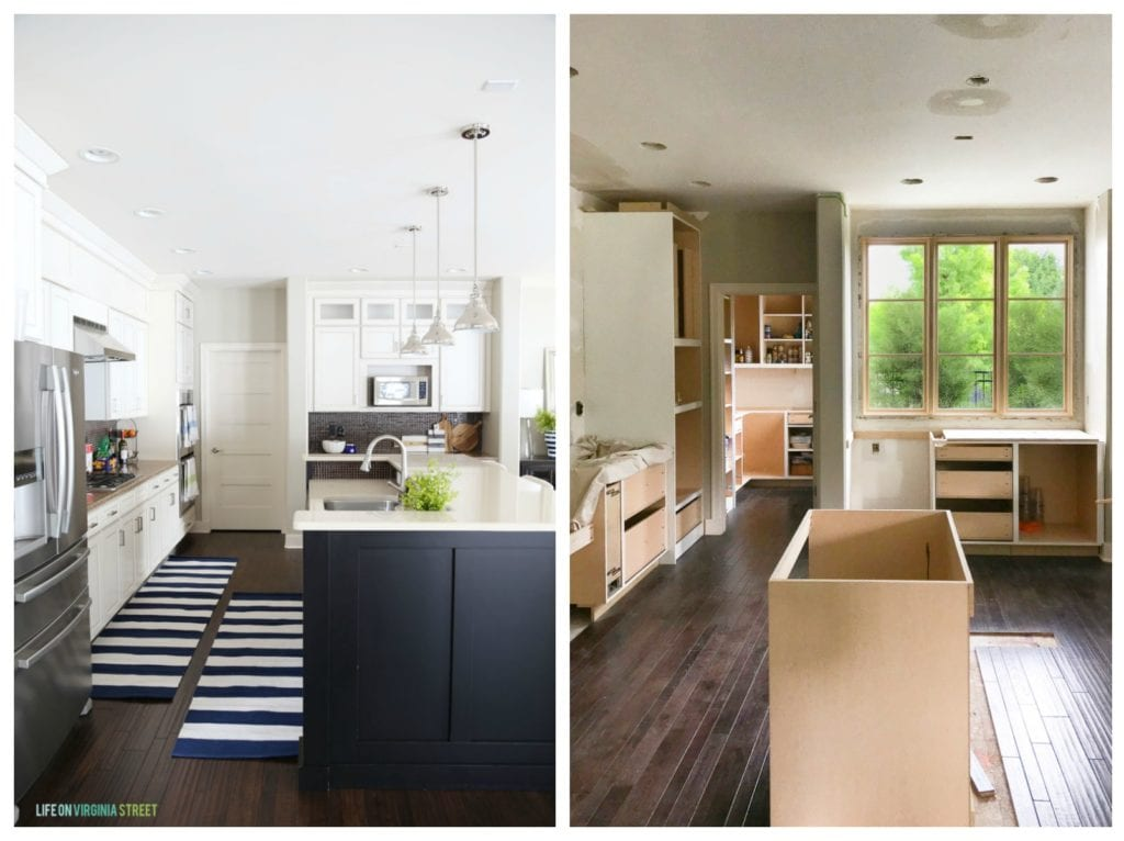 In one picture the completed kitchen and the second picture the building of the island.