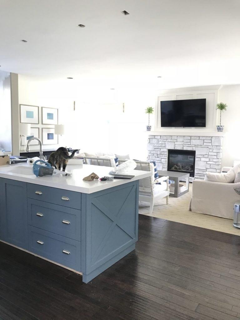 Kitchen renovation progress photos. Island is painted Benjamin Moore Providence Blue.