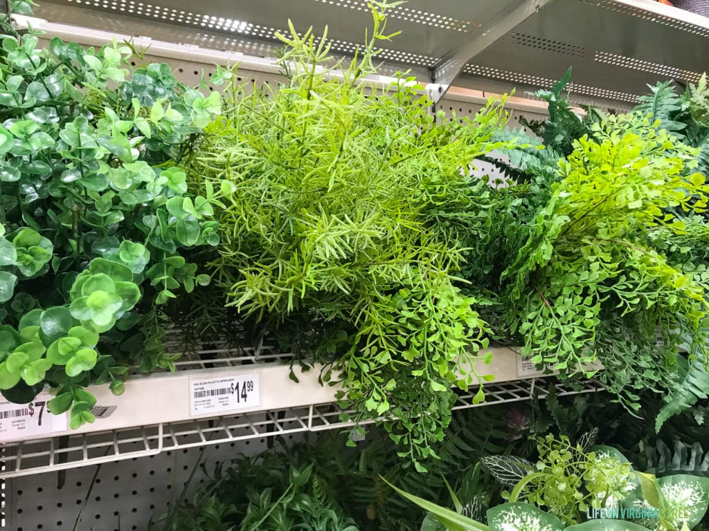 The light and dark green fake plants at Michaels store.