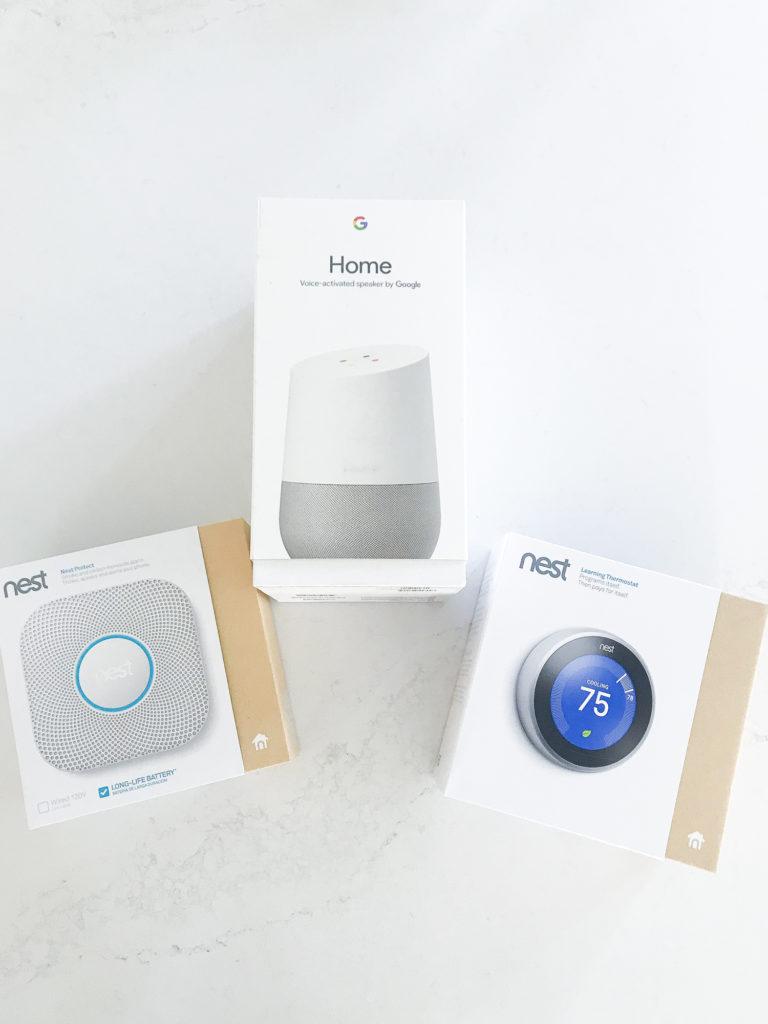A Home Pod plus Nest items.