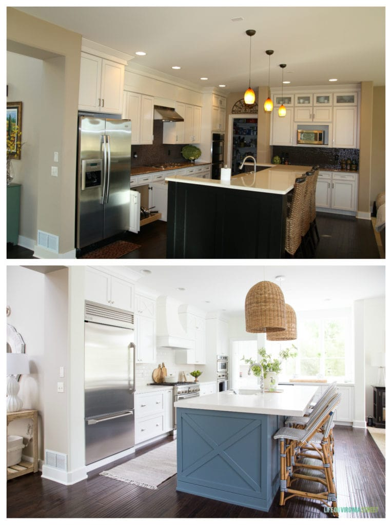 Before and after kitchen renovation! See how this dark Tuscan style kitchen was transformed into a light and bright coastal kitchen blue blue and white details!