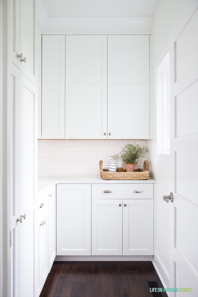 Pantry with built-in cabinets and quartz countertops.