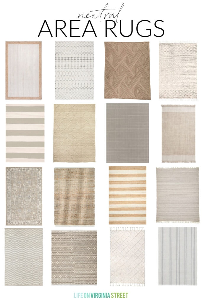 A collection of neutral rugs with a variety of patterns and textures.