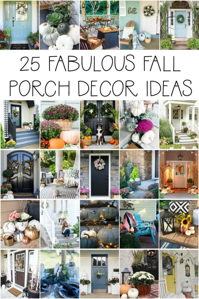 A collection of 25 gorgeous fall porch decor ideas, perfect for the autumn months! Also includes fall planter inspiration poster.
