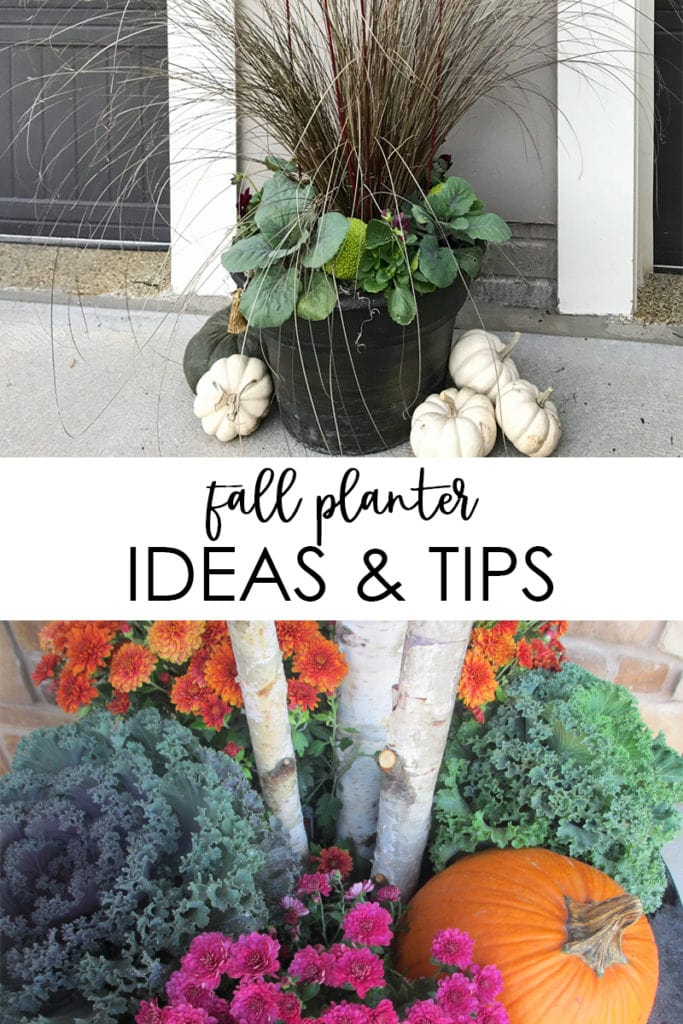 So many beautiful fall planter ideas and tips to keep your yard looking beautiful into the autumn months! Includes flower pots ideas for flowers, vegetables, twigs, and more.