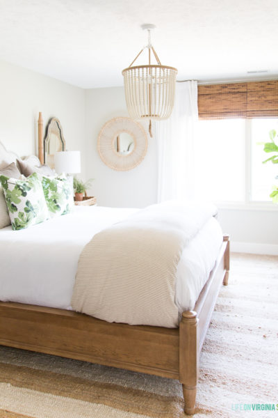 Neutral and Green Fall Guest Bedroom