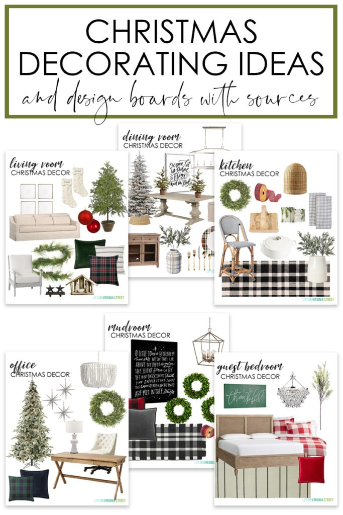 A collection of Christmas decorating ideas and design boards poster.