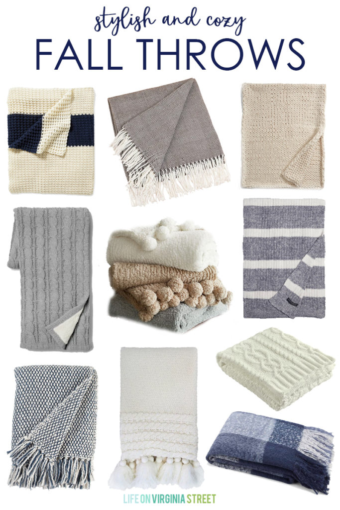 A beautiful collection of 20+ stylish and cozy fall throws that will bring warmth to the autumn season! The blankets are perfect to cuddle up with while watching TV or as an extra layer on a bed.
