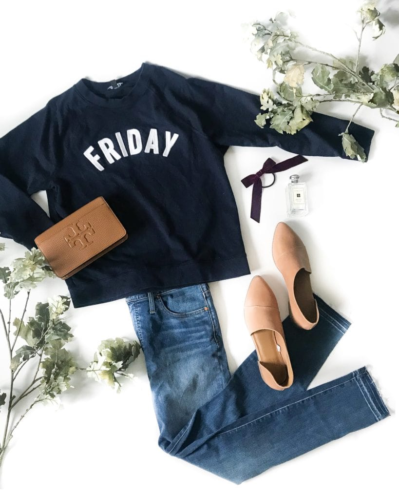 Cute navy blue embroidered Friday sweatshirt! Love this look for fall days or even game days! Paired with leather booties, a leather Tory Burch clutch, and a velvet bow hair tie!