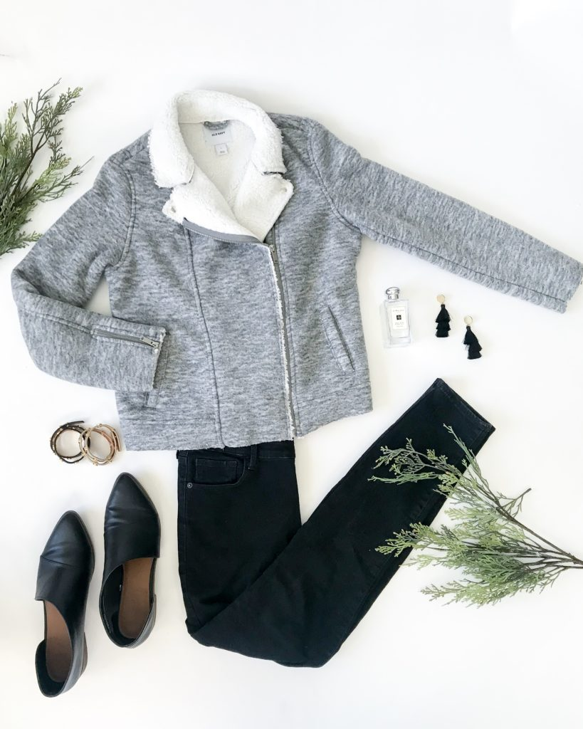 Gray sherpa moto jacket, black skinny jeans, black booties, Tory Burch logo wrap bracelets, tassel earrings, and Jo Malone cologne make for the perfect fall outfit!