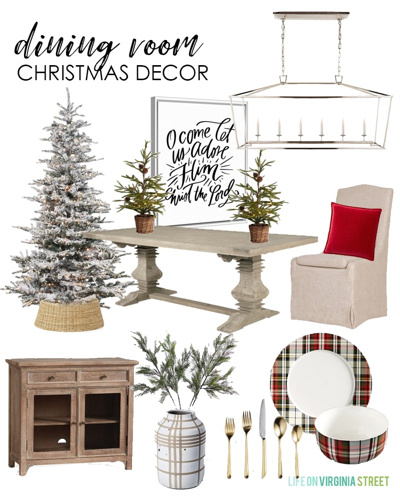 Christmas decorating ideas for your dining room. I love this traditional look with a flocked Christmas tree, plaid dishes, gold flatware and 'O Come Let Us Adore Him' artwork!