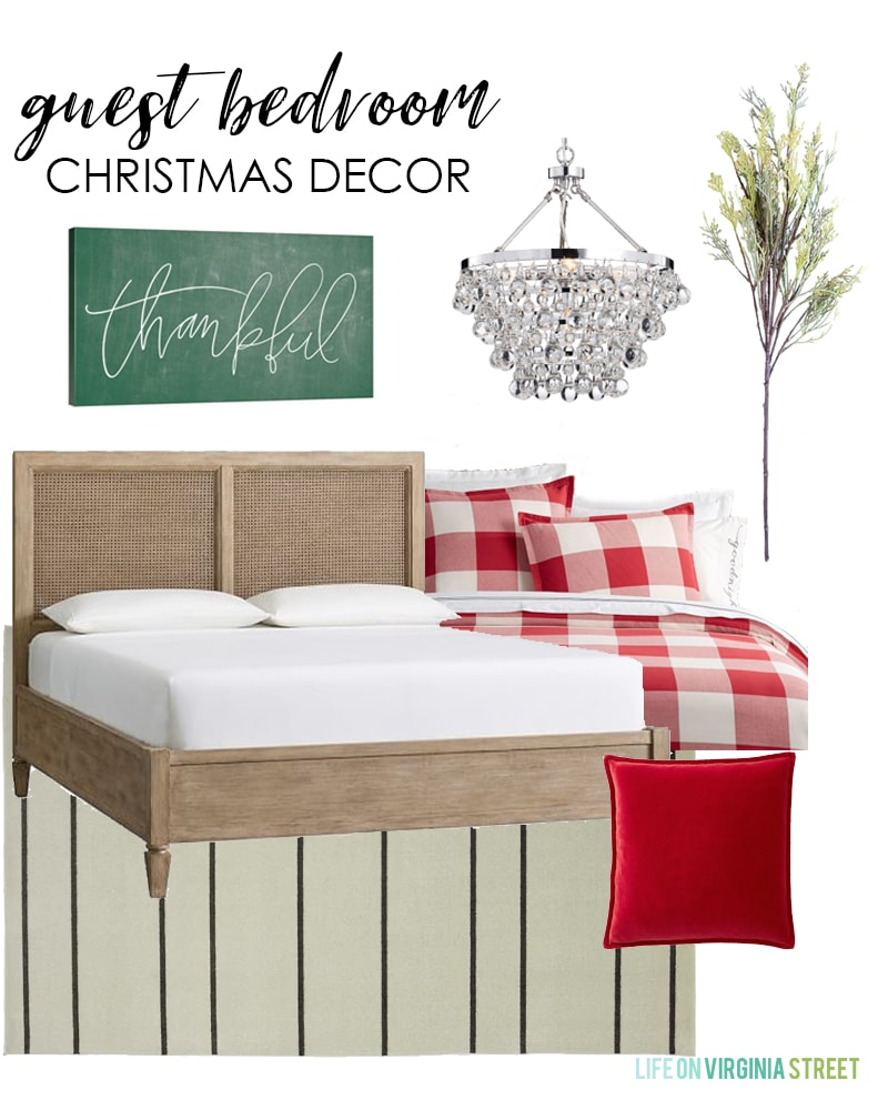 A beautiful design board and post with Christmas decorating ideas for every room in your home! I love this simple guest bedroom with red buffalo check bedding and green and white accents.