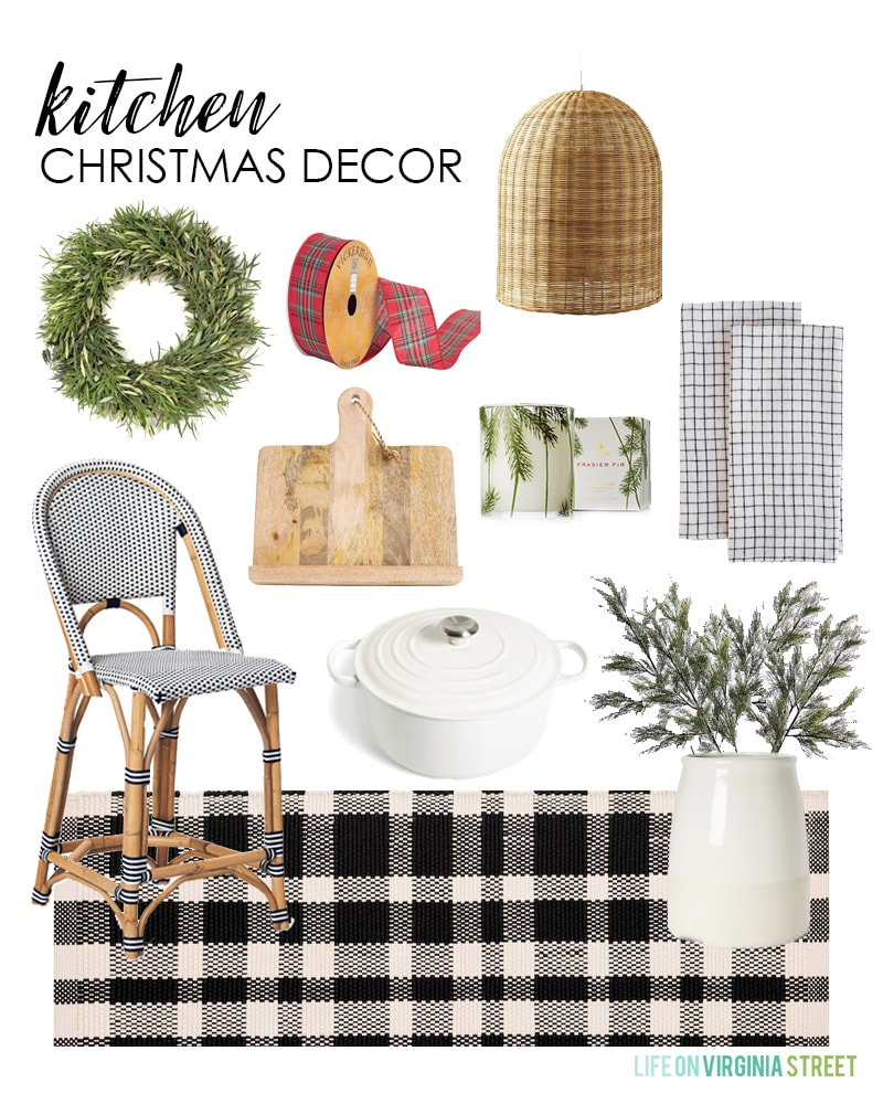 Kitchen Christmas Decor mood board, with a wicker chair, a plant, cutting board, ribbon and wreath.