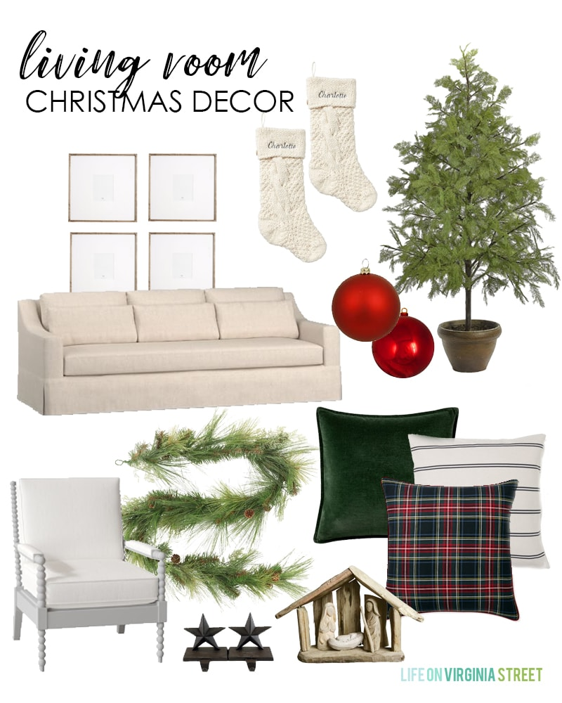 A Christmas living room design board withtartan plaid pillows mixed with dark green velvet on the linen sofa. A natural faux cypress tree paired with cedar garland.