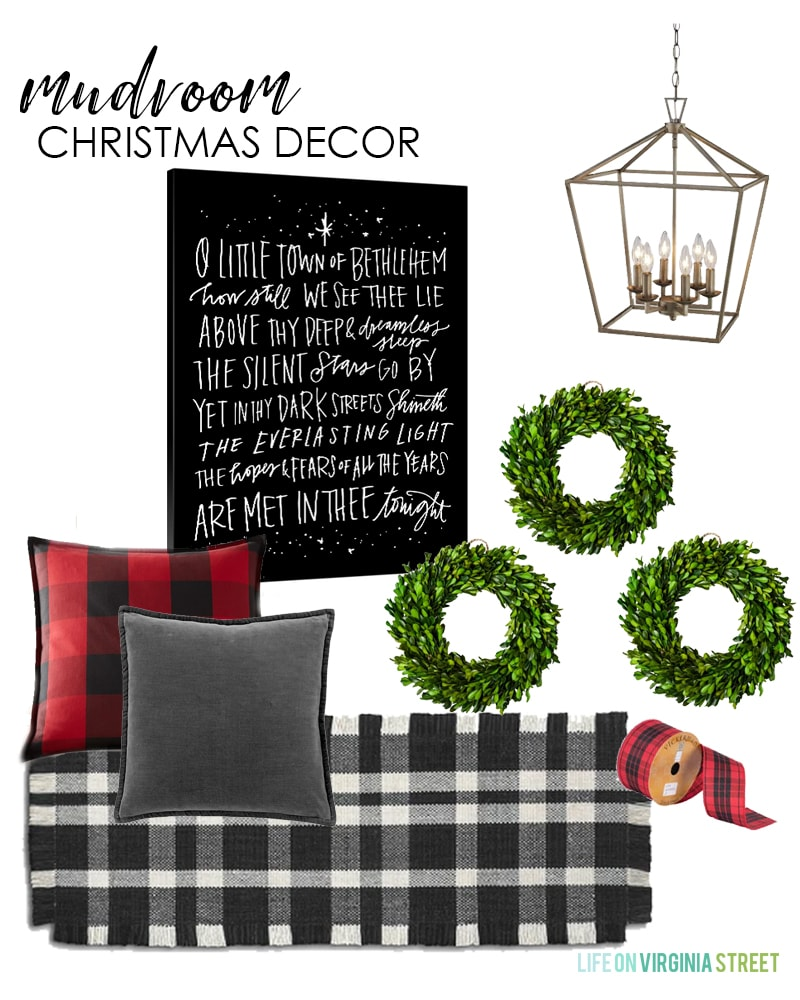 Christmas mudroom decorating ideas. I love the black and white plaid rug paired with red buffalo check and velvet pillows. The 'O Little Town of Bethlehem' canvas pulls it all together with green boxwood wreaths!