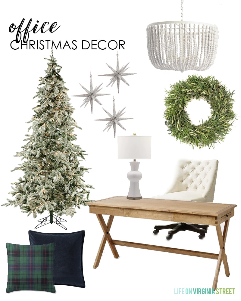 A beautiful office Christmas decor design board with simple holiday touches. I love the neutral decor with plaid and velvet pillows and a live olive wreath!